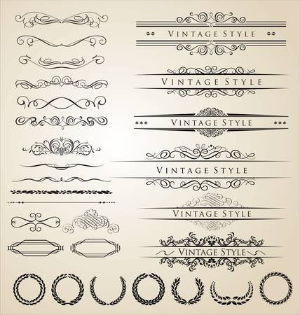 calligraphic: Decorative border and frame set