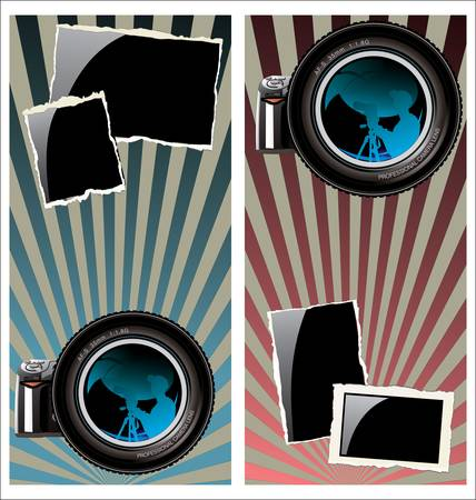 Lens and old photo frame on retro background Stock Vector - 14122906