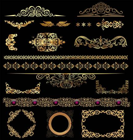 Gold calligraphic design elements Vector