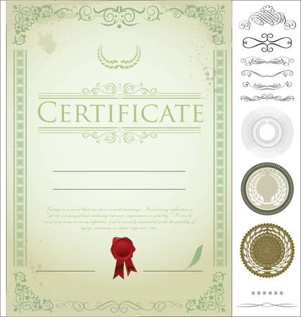Certificate template with additional design elements Stock Vector - 14305636