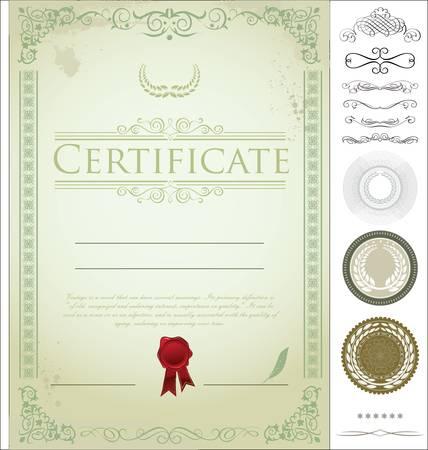 Modèle de certificat avec des éléments de conception supplémentaires Banque d'images - 14305636