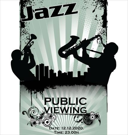 jazz band: Jazz musician silhouettes Illustration