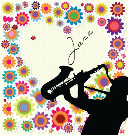 african sax: Jazz and flower background Illustration