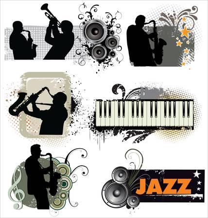 jazz band: Grunge Jazz banners Illustration