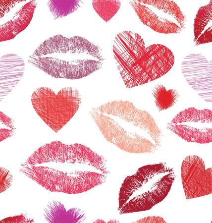 zoenen: Naadloos patroon met lippen en harten