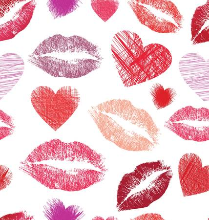 Seamless pattern with lips and hearts Vector