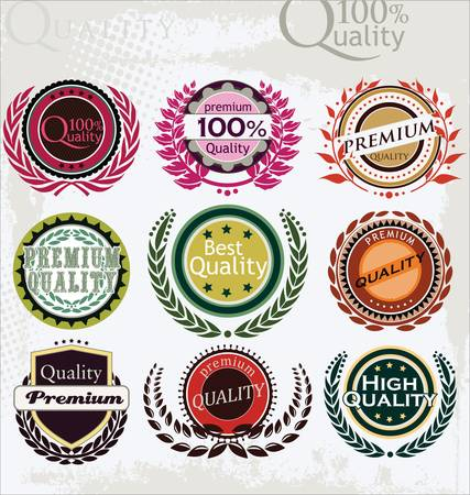 premium quality: Set of vintage retro premium quality labels