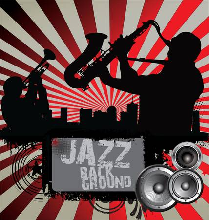 african sax: Jazz musician silhouettes