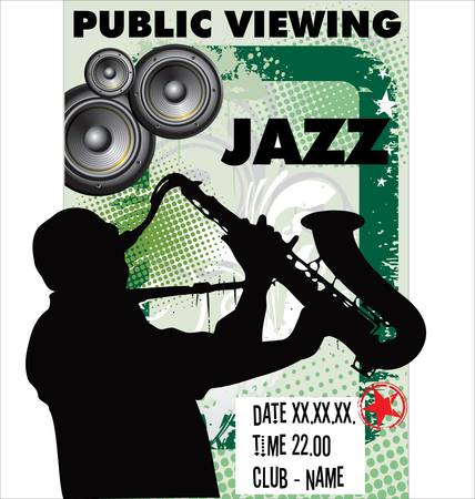 african sax: Jazz musician silhouette
