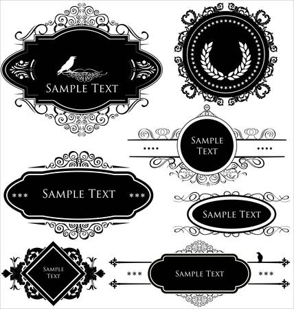 wedding symbol: Vintage frames Illustration