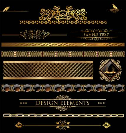 calligraphic design: Design golden elements Illustration