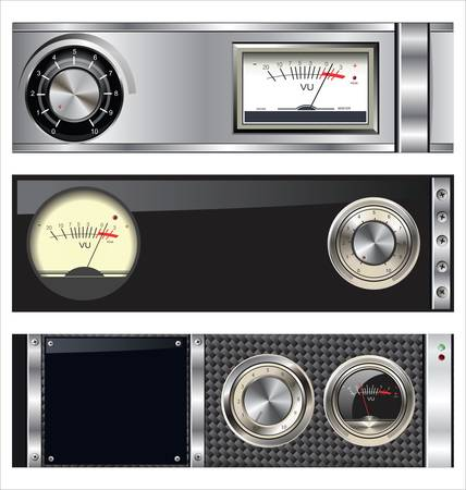 audio: Technology banner with VU meter and volume knob set Illustration