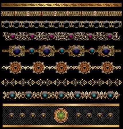 gild: set di oro ornato bordo impostato per il design Vettoriali