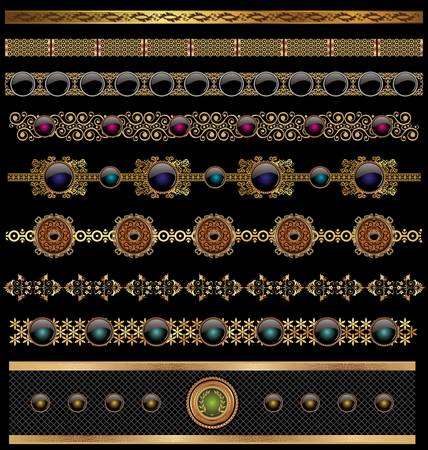 golden border: set of golden ornate border set for design Illustration