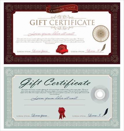 certificat diplome: Ch�que-cadeau et Ornements Illustration