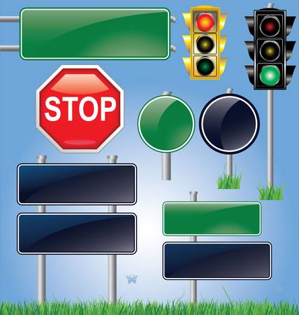 with stop sign: empty road sign and traffic light set