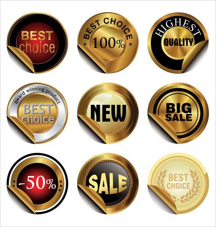 Collection of Premium Quality and Guarantee Labels Stock Vector - 14585182
