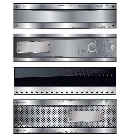 silver bar: Abstract metal banners