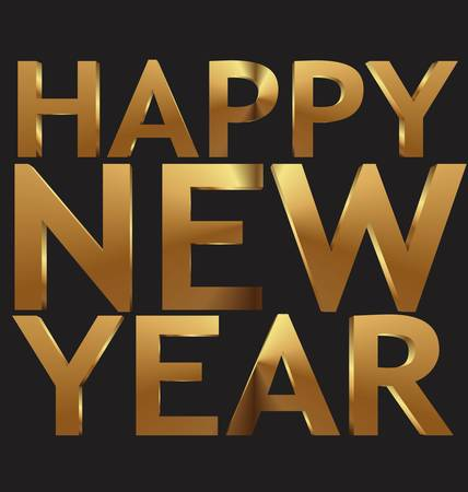 Happy New Year 3d gold illustration Vector