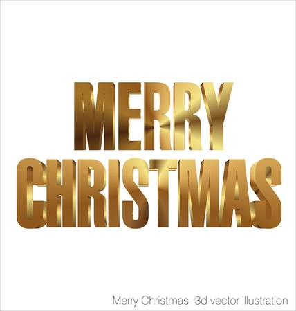 happiness concept: Merry Christmas 3d golden text illustration