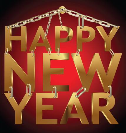 year 3d: Happy New Year 3d gold on golden chain Illustration
