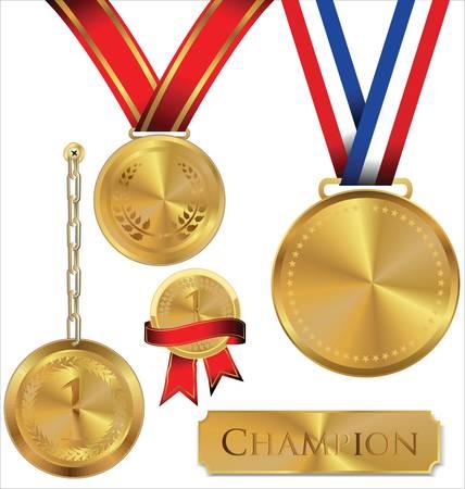 Vector illustration de la médaille d'or Banque d'images - 14647398
