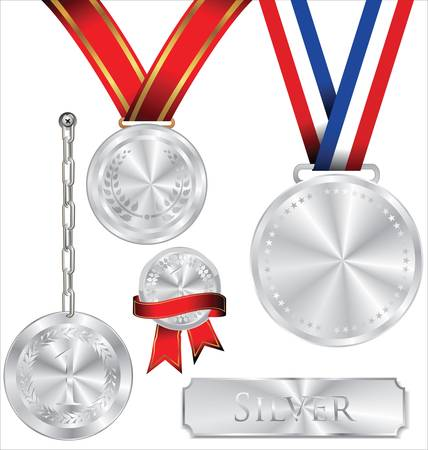Illustration Of Silver Medal Vector