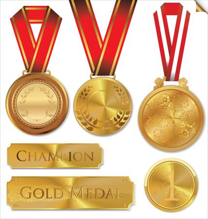 gold silver bronze: illustration of gold medal