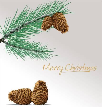 spruce: Rama de pino con conos fondo de Navidad Vectores