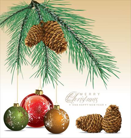 gray bulb: Fir Tree With Pine-cones Christmas Background