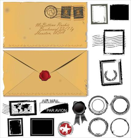 antiqued: Old envelope and postage stamp set Illustration