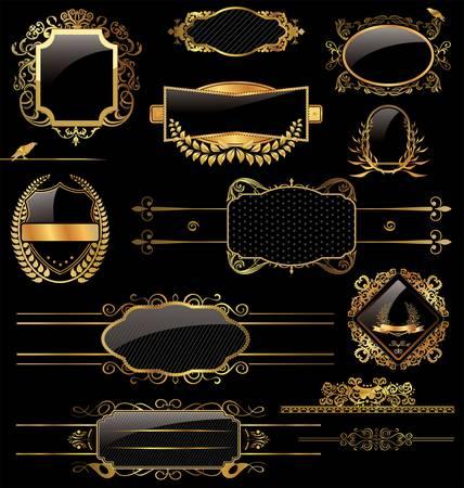 corona navidad: Oro elegante y etiquetas negras