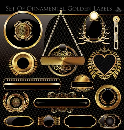 Black and Gold framed labels Stock Vector - 14726005