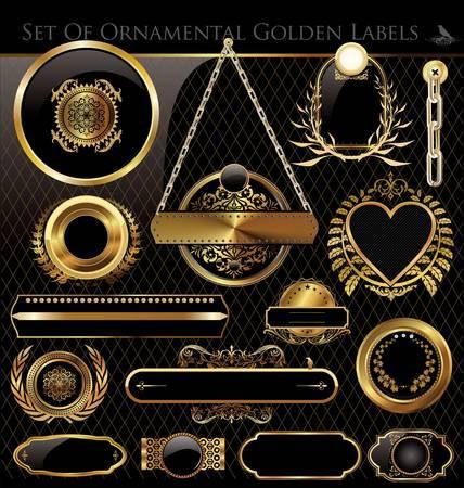 eleganz: Schwarz und Gold gerahmte Etiketten