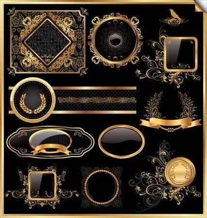 Vector set of vintage framed black and gold labels