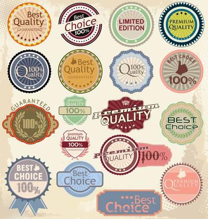 zufriedenheitsgarantie: Jahrgang gestylten Premium-Qualit�t und Zufriedenheitsgarantie Etikett