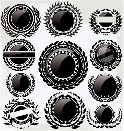 Set of empty vintage retro black and white labels Vector