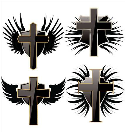 jesus on cross: Croce sullo scudo nero con le ali impostato Vettoriali