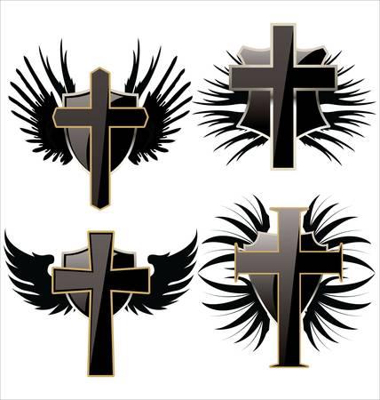 cross and wings: Cruz en el escudo Negro con alas de establecer Vectores