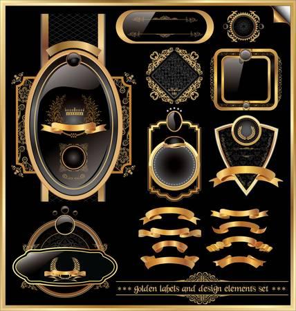 Golden labels et des éléments de conception fixés Banque d'images - 14797429