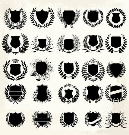 Set - shield and laurel wreath Stock Vector - 14797428