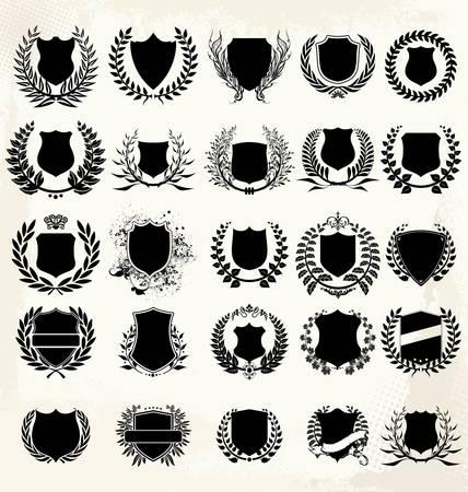 Set - couronne de laurier et de bouclier Banque d'images - 14797428