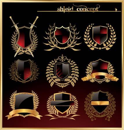 emblem red: Shield and laurel wreath set Illustration
