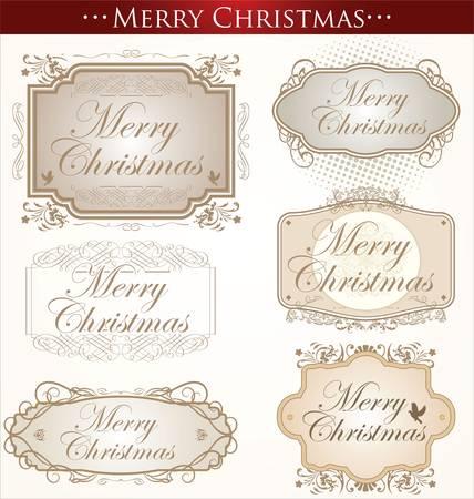 Vintage Christmas Card. Merry Christmas Vector