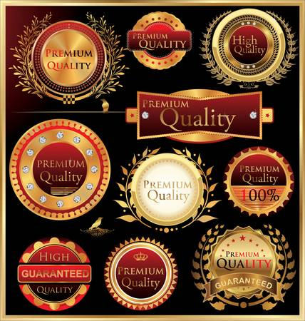 Set of golden quality labels and emblems Vector