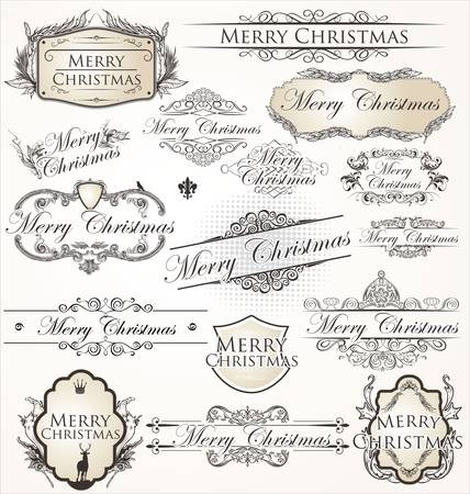 phrases: Merry Christmas collection Label vendimia Vectores