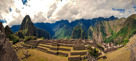 A view of Machu Picchu and its ruins, The Lost City of the Inca Civilization  Stockfoto