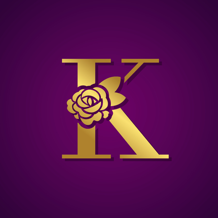 Gold Letter with Rose Flower for beauty and fashion icon.