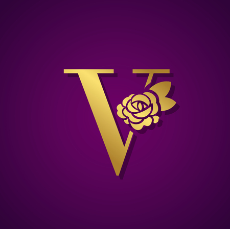 Gold Letter with Rose Flower for beauty and fashion icon. Vector Illustration