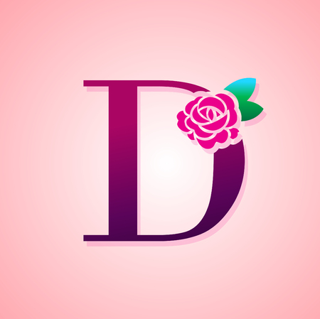 Letter with Rose Flower for beauty and fashion icon. Çizim